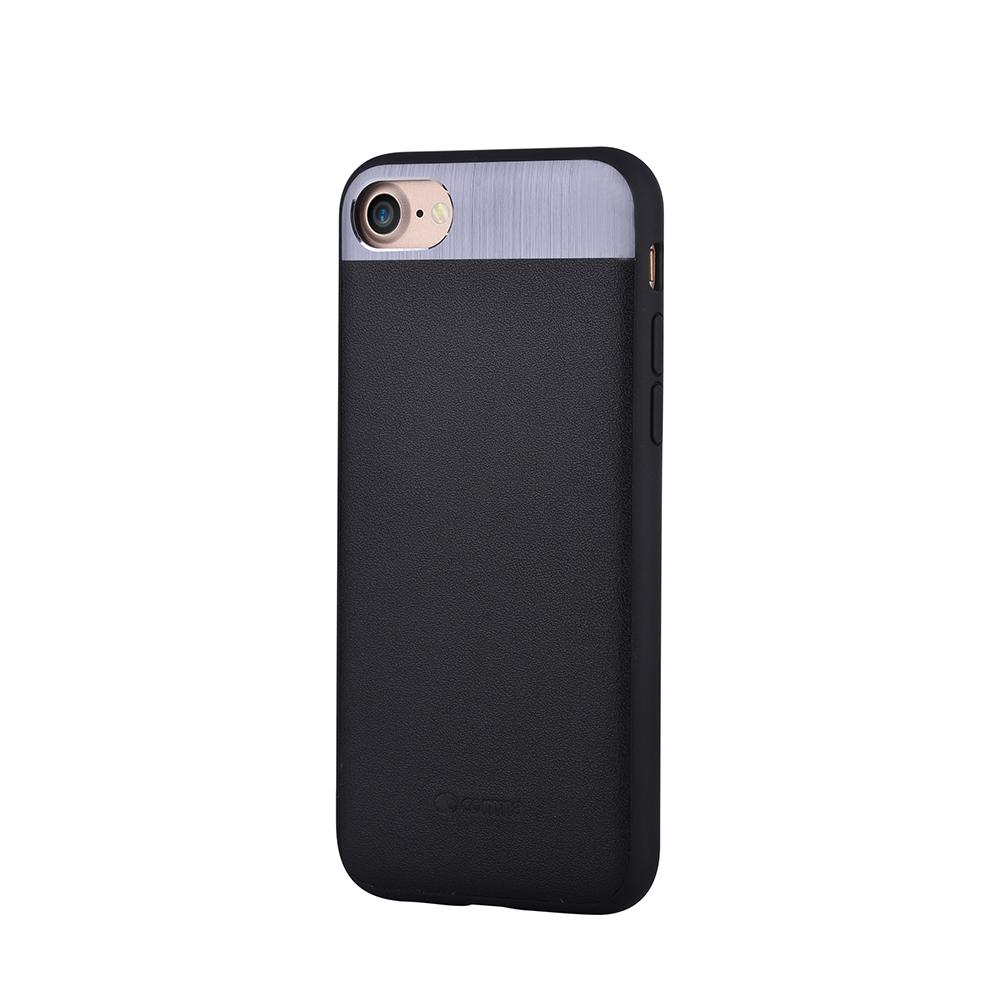 Carcasa iPhone 8 / 7 Comma Vivid Leather Black (piele naturala, aluminiu si margini flexibile)