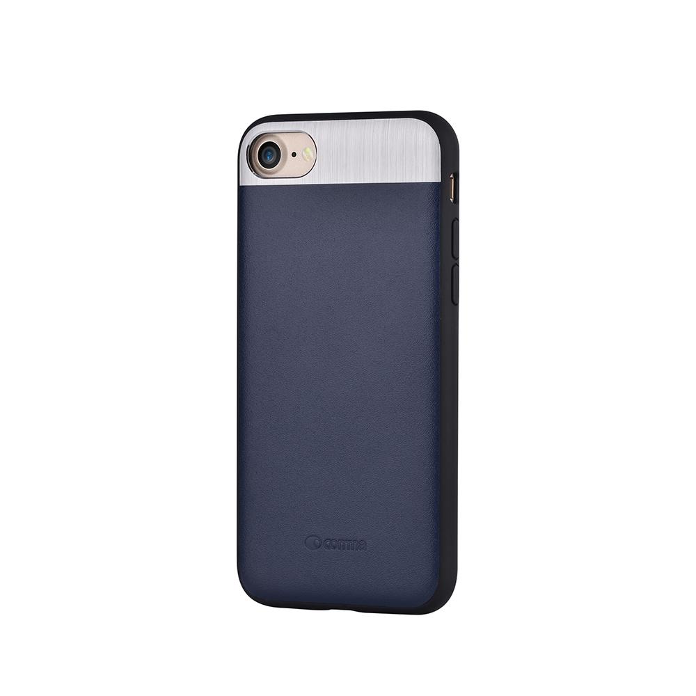 Carcasa iPhone 8 / 7 Comma Vivid Leather Blue (piele naturala, aluminiu si margini flexibile)