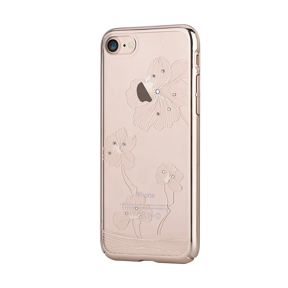 Carcasa iPhone 8 / 7 Comma Crystal Flora 360 Champagne Gold (Cristale Swarovski�, electroplacat, pro
