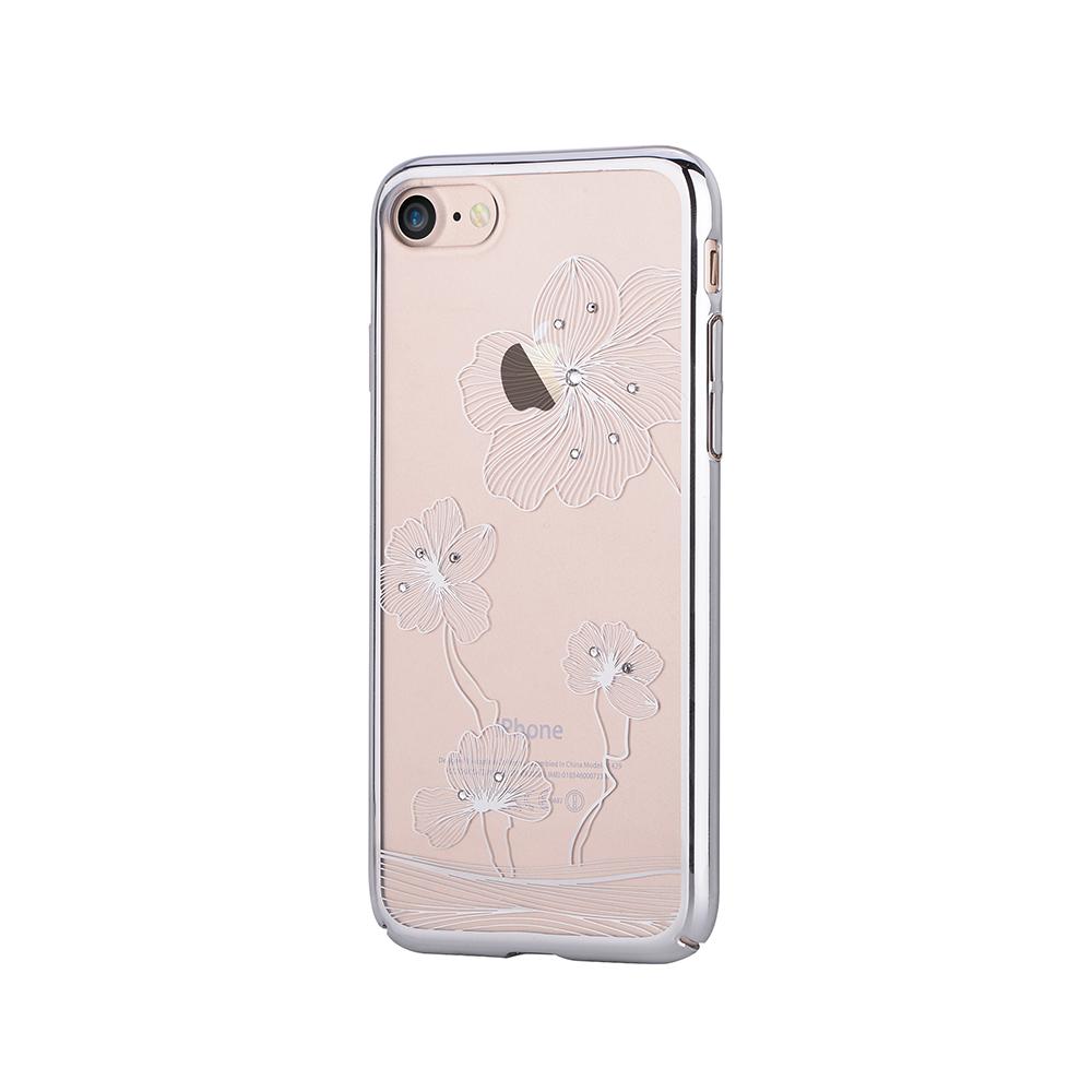 Carcasa iPhone 8 / 7 Comma Crystal Flora 360 Silver (Cristale Swarovski�, electroplacat, protectie 3