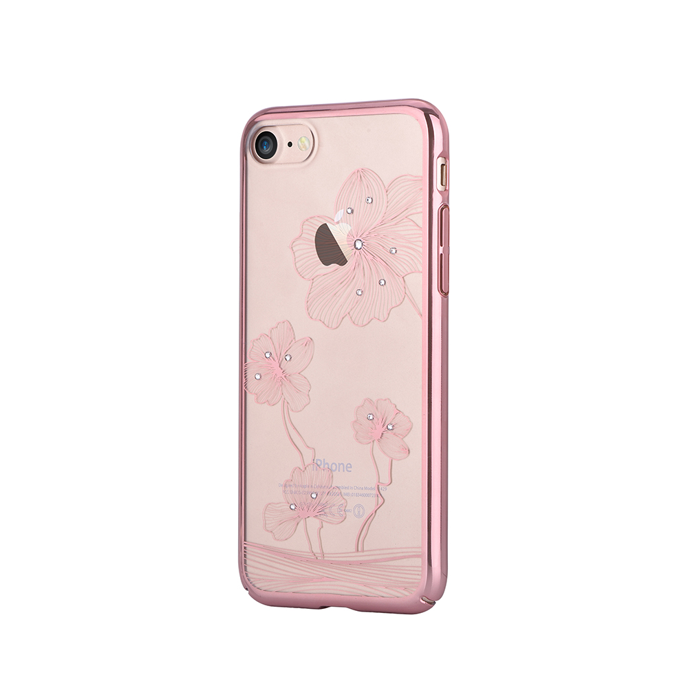 Carcasa iPhone 8 / 7 Comma Crystal Flora 360 Rose Gold (Cristale Swarovski�, electroplacat, protecti