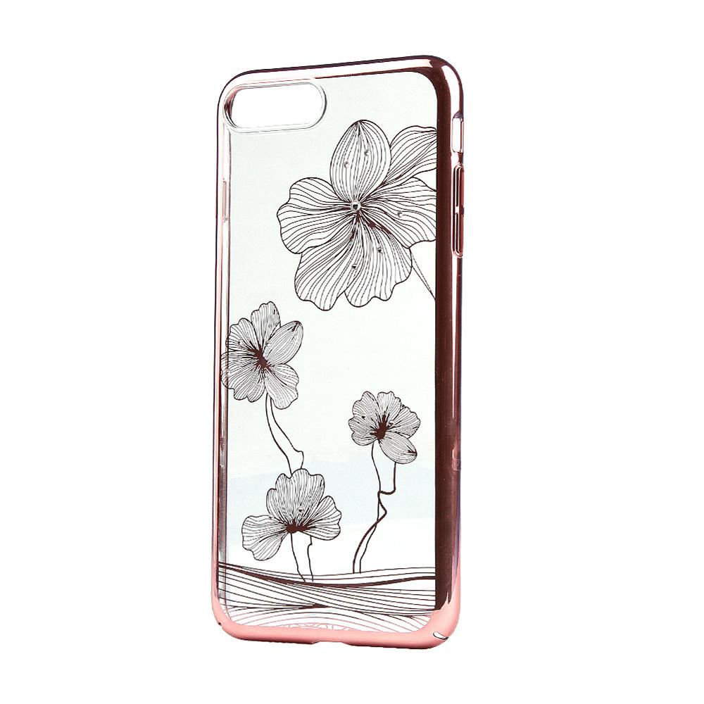 Carcasa iPhone 8 Plus / 7 Plus Comma Crystal Flora 360 Rose Gold (Cristale Swarovski®, electroplacat