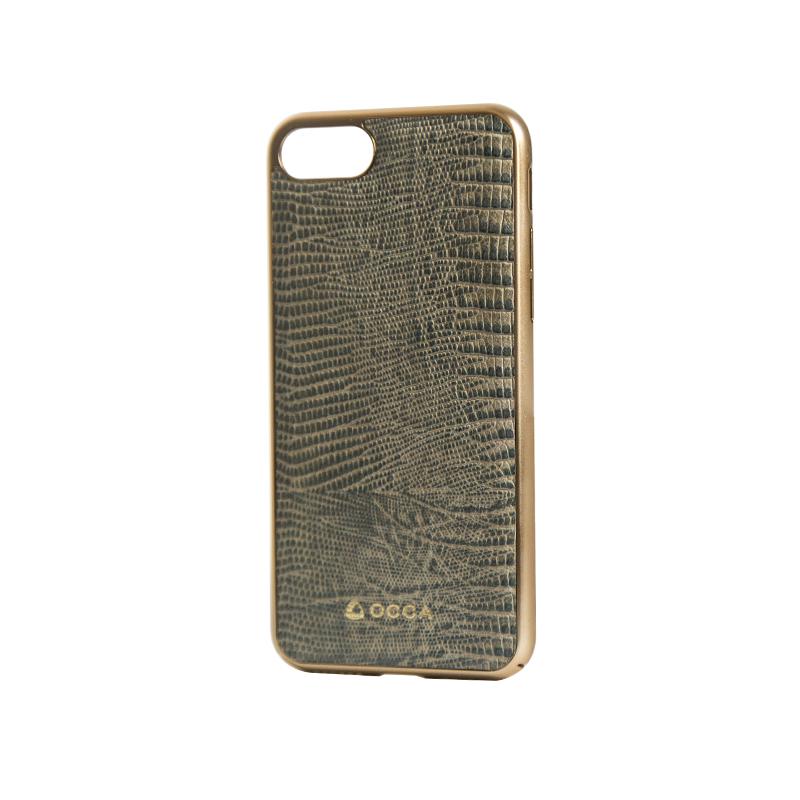 Carcasa iPhone 7 Occa Lizard Gray (piele naturala, protectie margine 360�)