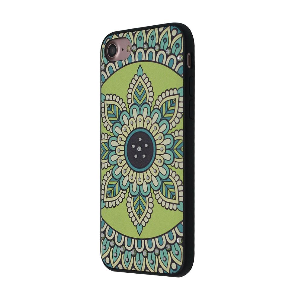 Carcasa iPhone 8 / 7 Occa Artist Royal Green Mandala (3D print cu cristale)