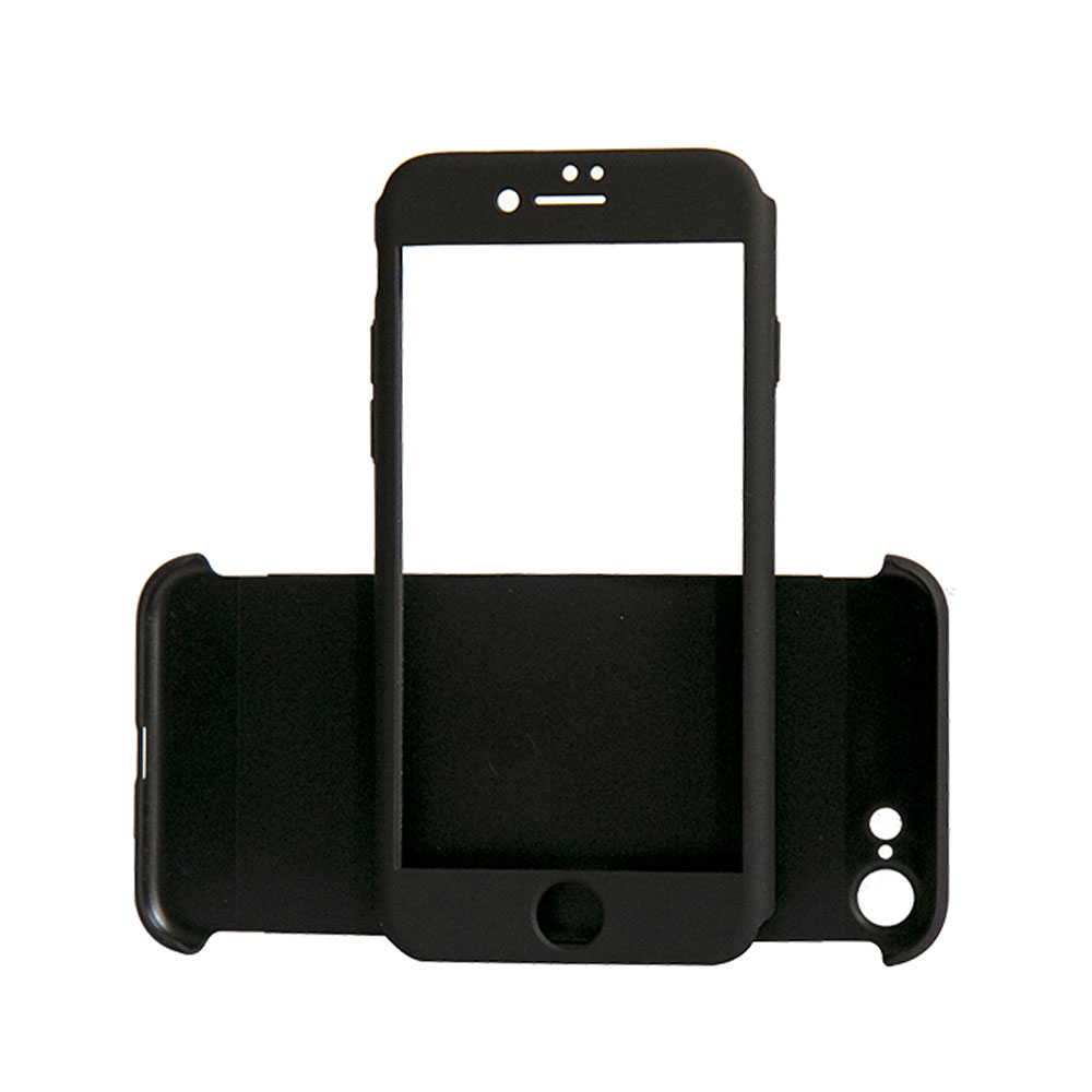 Carcasa iPhone 7 Just Must Defense 360 Black (3 piese: protectie spate, protectie fata, folie sticla
