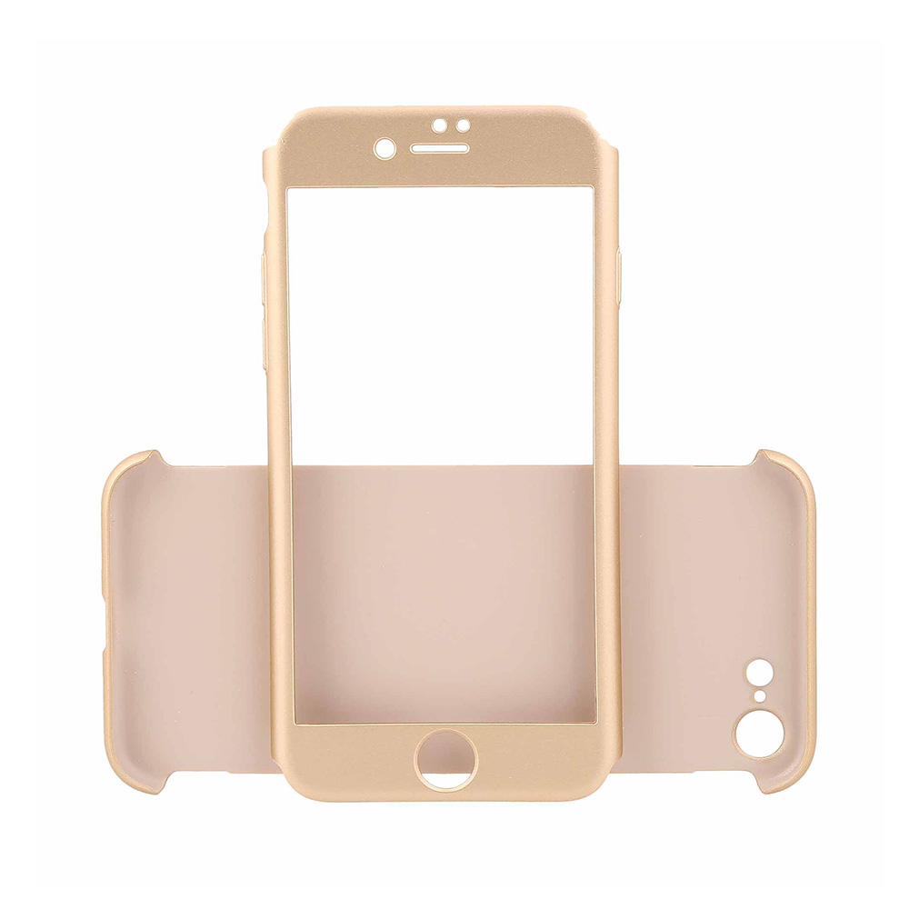 Carcasa iPhone 7 Just Must Defense 360 Gold (3 piese: protectie spate, protectie fata, folie sticla)
