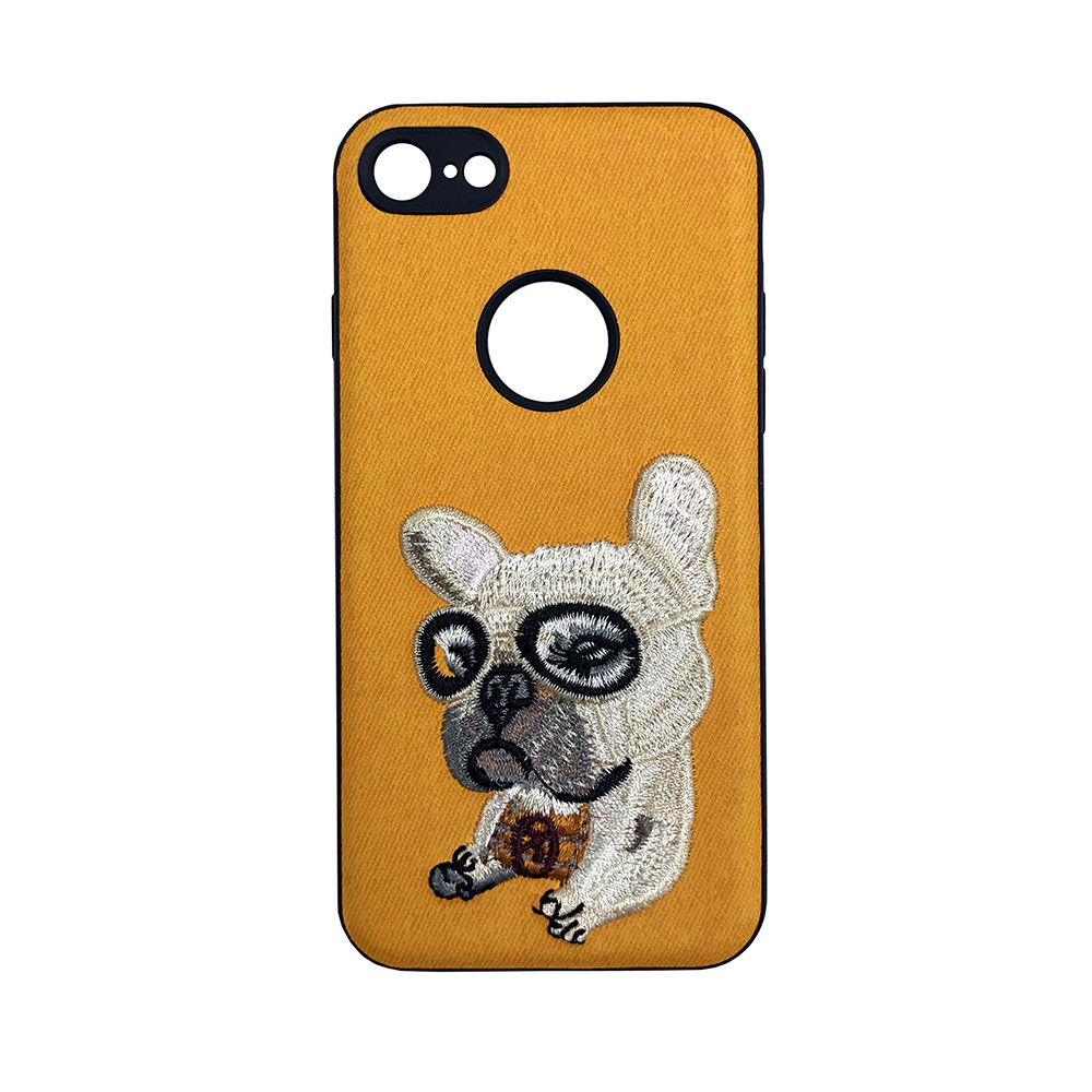 Carcasa iPhone 7 Lemontti Embroidery Orange Puppy