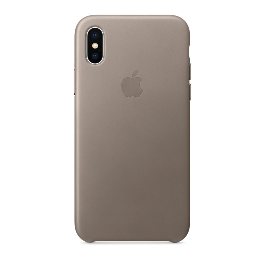 Carcasa iPhone X Apple Leather Taupe (piele naturala)