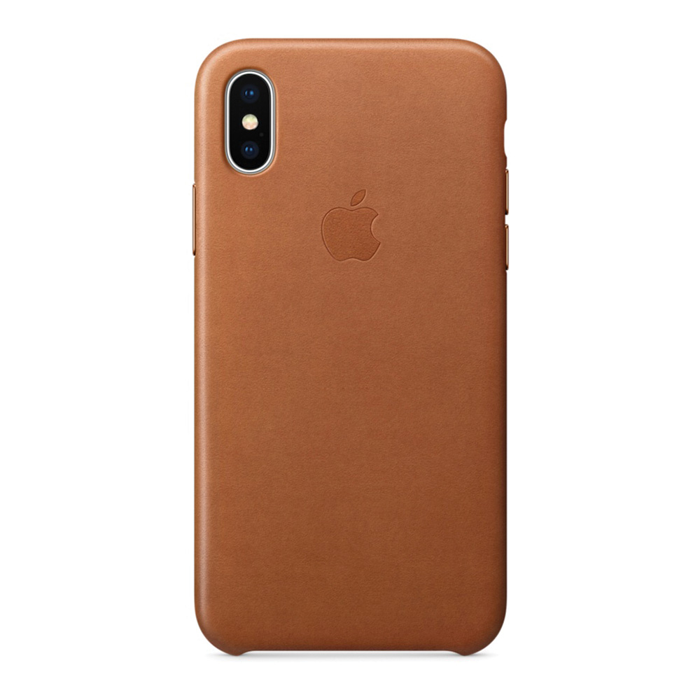 Carcasa iPhone X Apple Leather Saddle Brown (piele naturala)