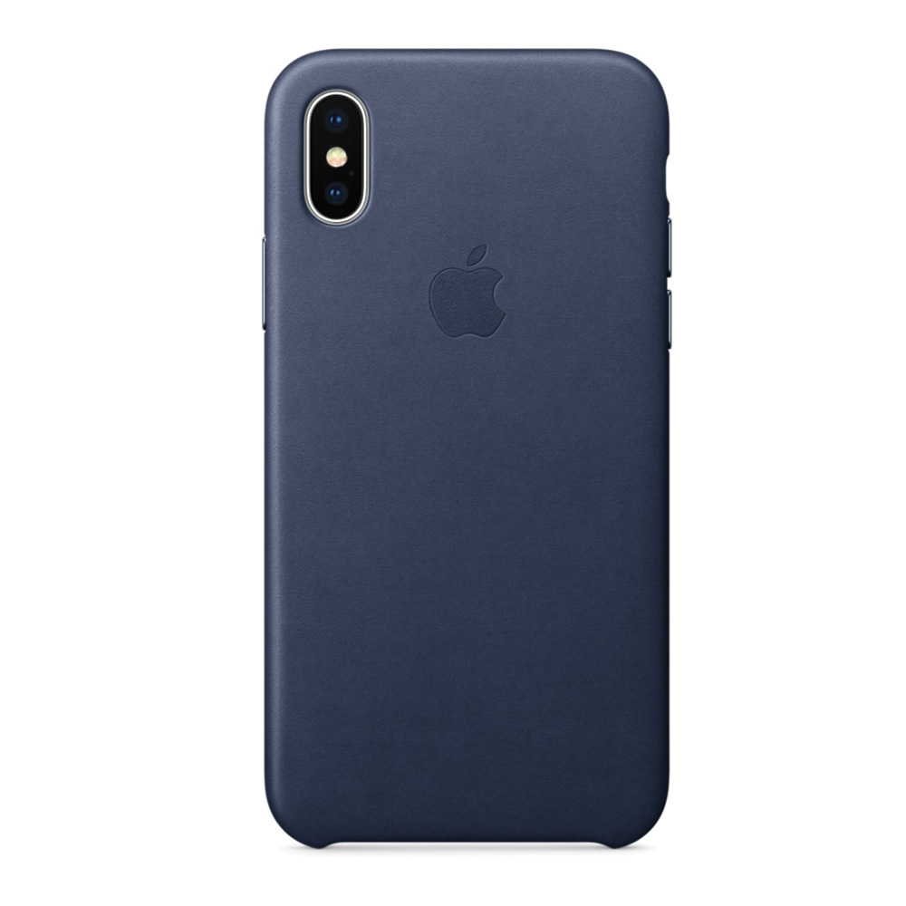 Carcasa iPhone X Apple Leather Midnight Blue (piele naturala)