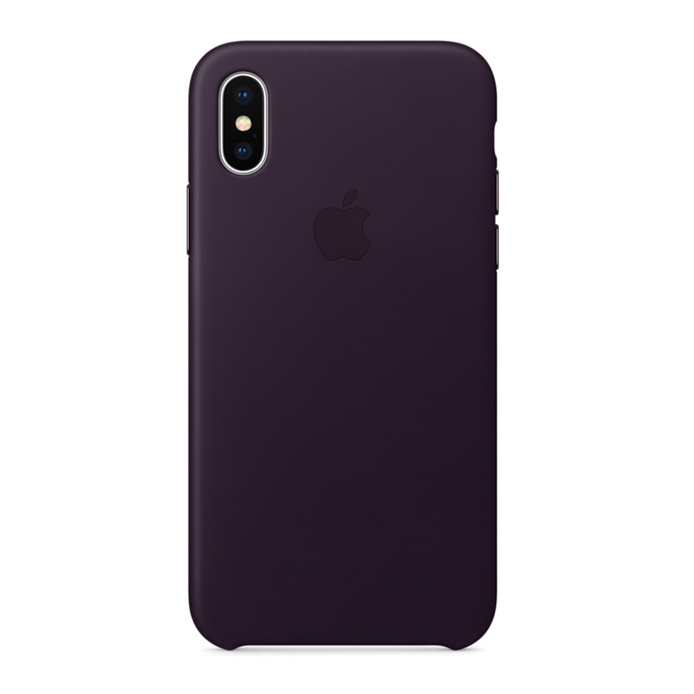 Carcasa iPhone X Apple Leather Dark Aubergine (piele naturala)