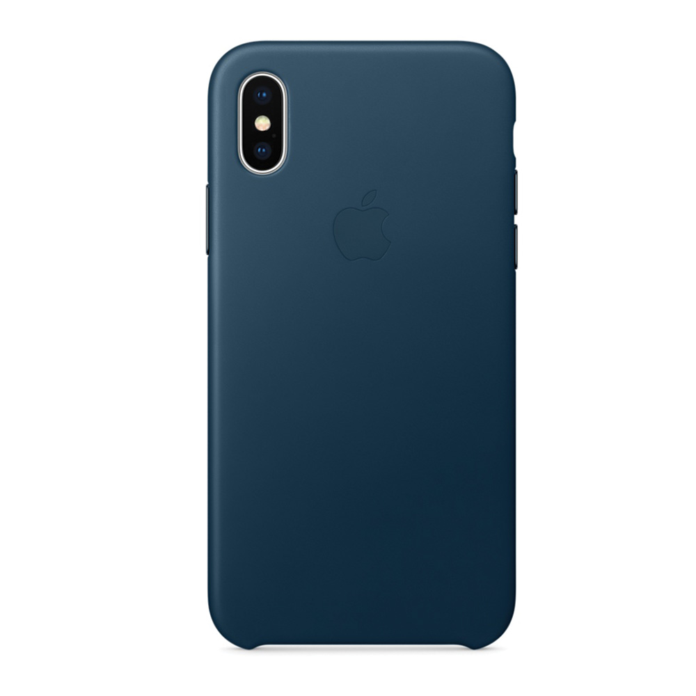 Carcasa iPhone X Apple Leather Cosmos Blue (piele naturala)