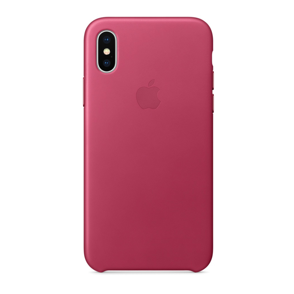 Carcasa iPhone X Apple Leather Pink Fuchsia (piele naturala)