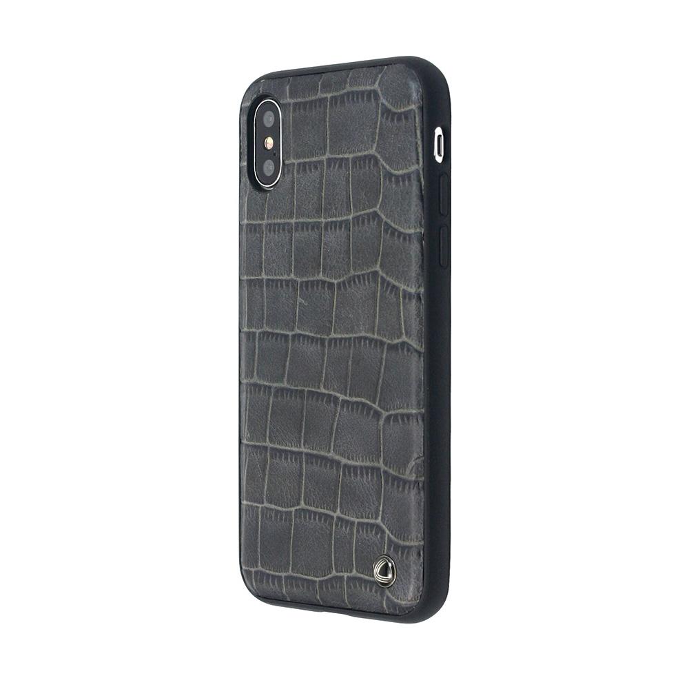 Carcasa iPhone X Occa Skin II Navy (piele naturala, textura croco, margini flexibile)