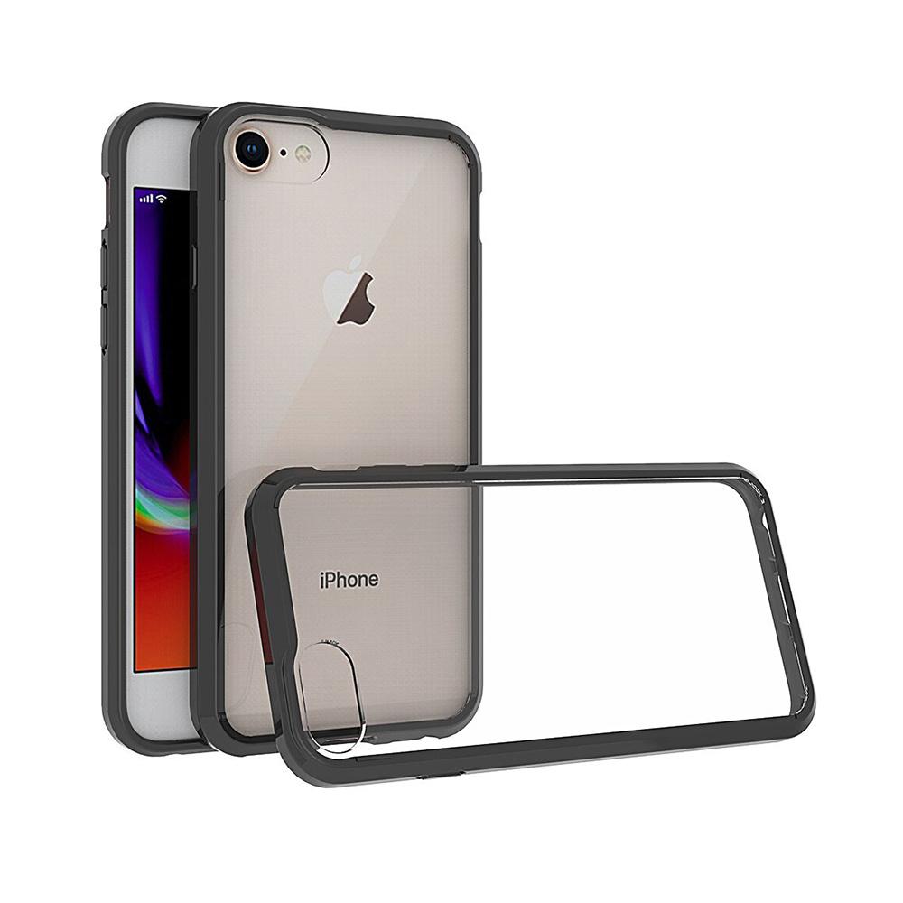 Carcasa iPhone 8 Just Must Pure II Black (spate transparent, margini flexibile)