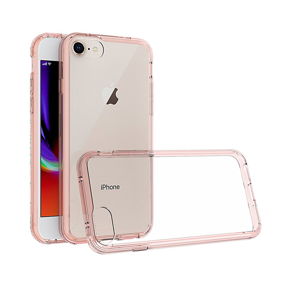 Carcasa iPhone 8 Just Must Pure II Pink (spate transparent, margini flexibile)