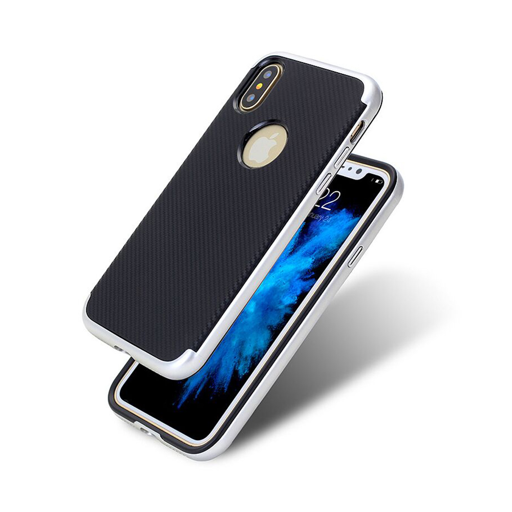 Carcasa iPhone X Just Must Arm Duo Silver (spate textura carbon negru)