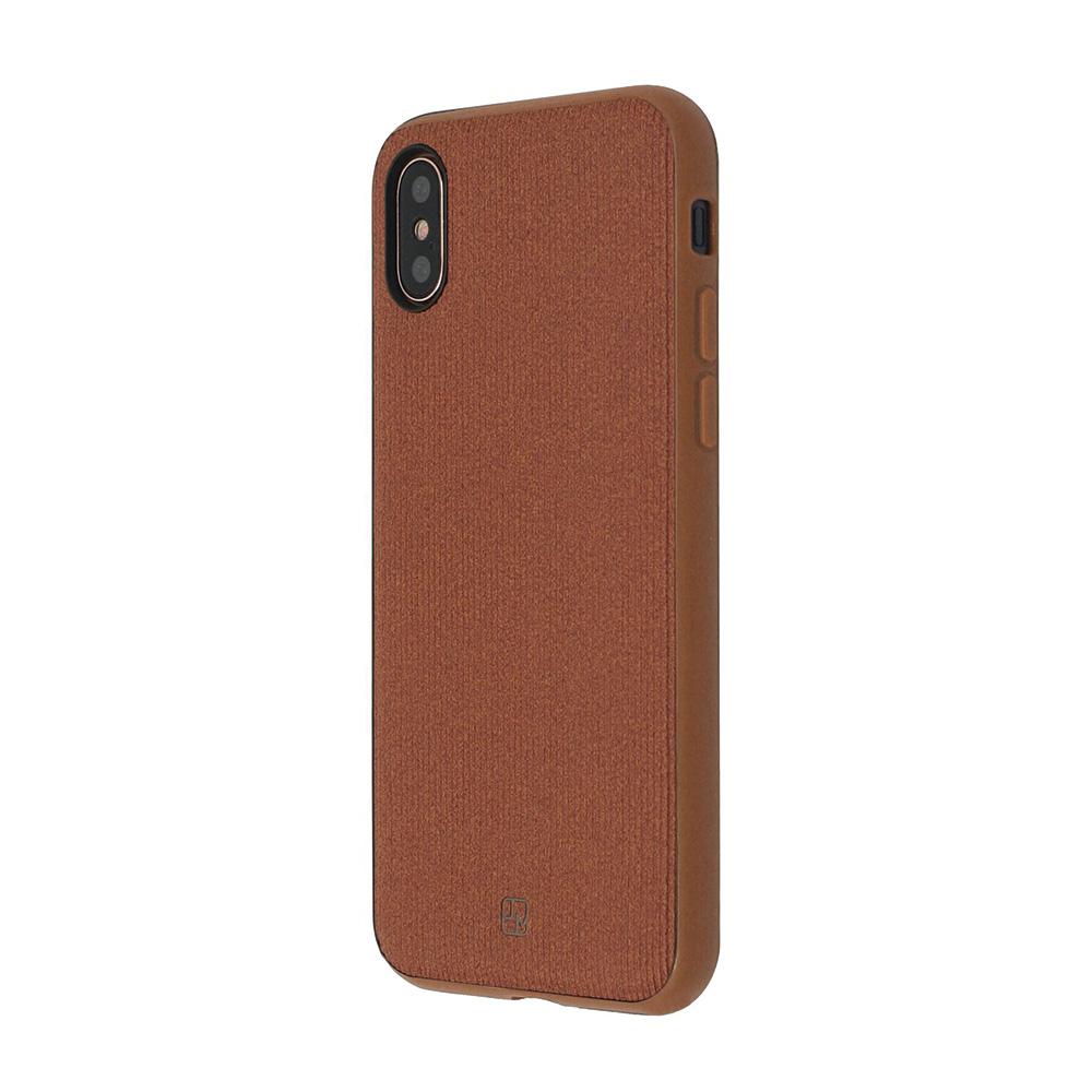 Carcasa iPhone X Just Must Pilot Brown (margini flexibile, placuta metalica integrata)