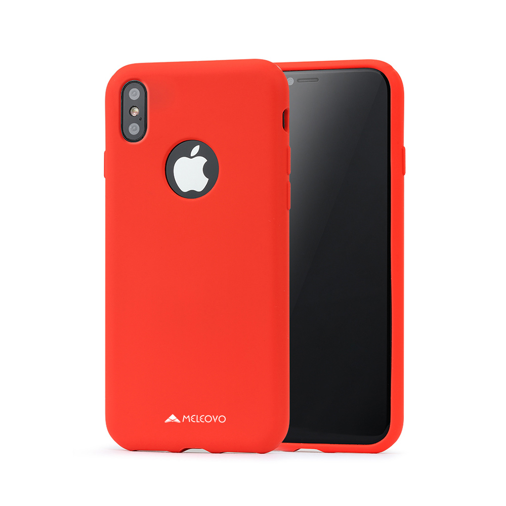 Husa iPhone X / XS Meleovo Liquid Silicone Jacket Red (touch ultrasoft, catifelat)