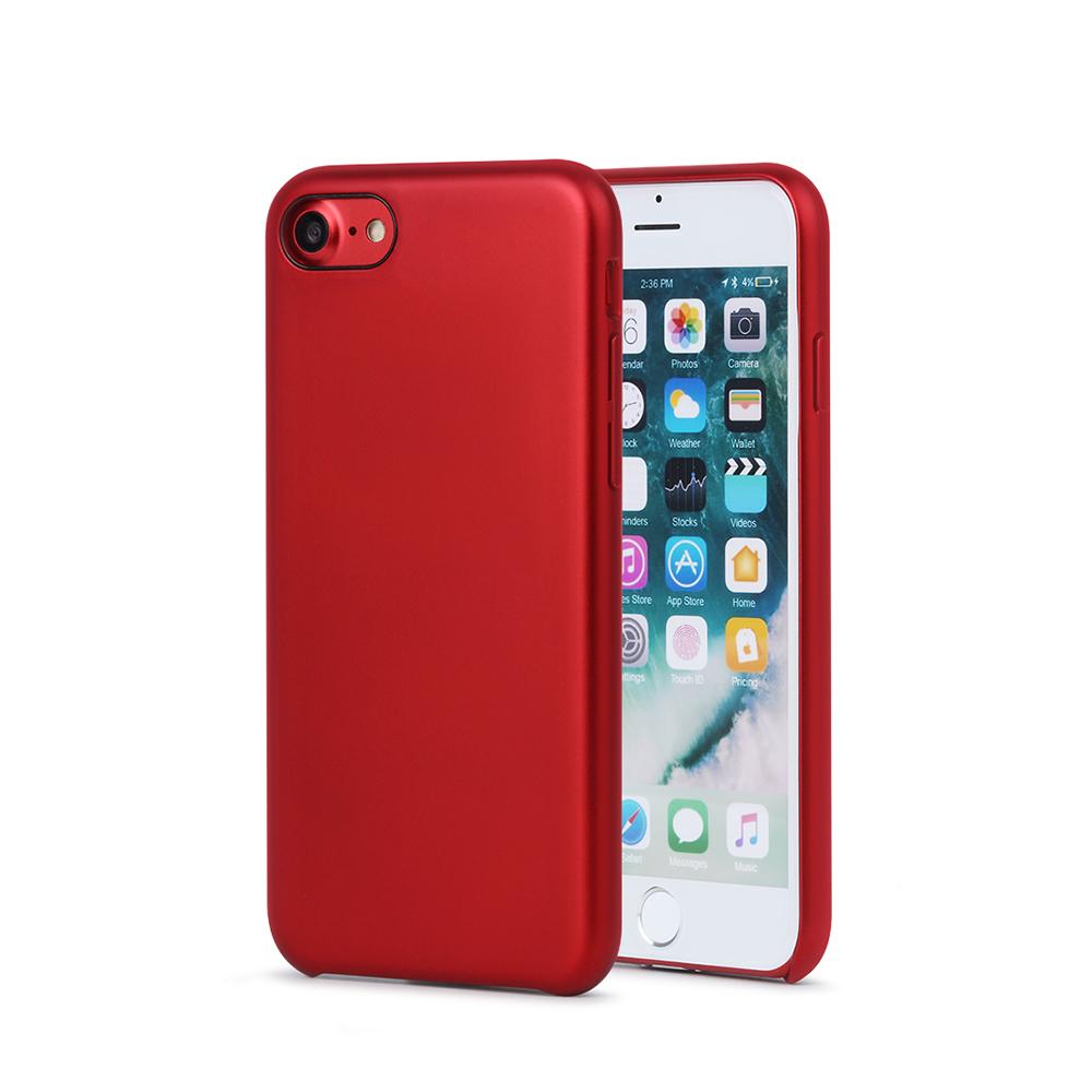 Carcasa iPhone 8 Meleovo Pure Gear II Red (culoare metalizata fina, interior piele intoarsa)