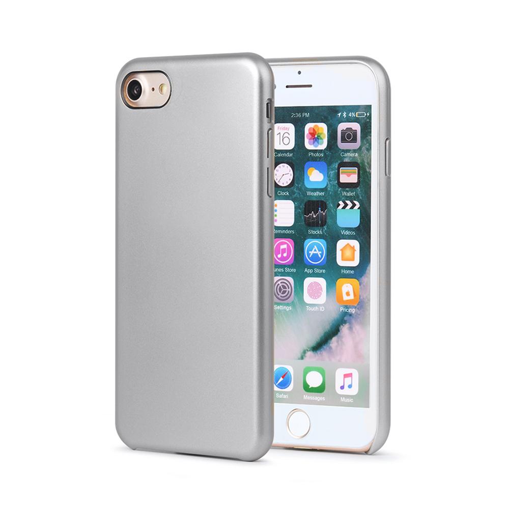 Carcasa iPhone 8 Meleovo Pure Gear II Silver (culoare metalizata fina, interior piele intoarsa)