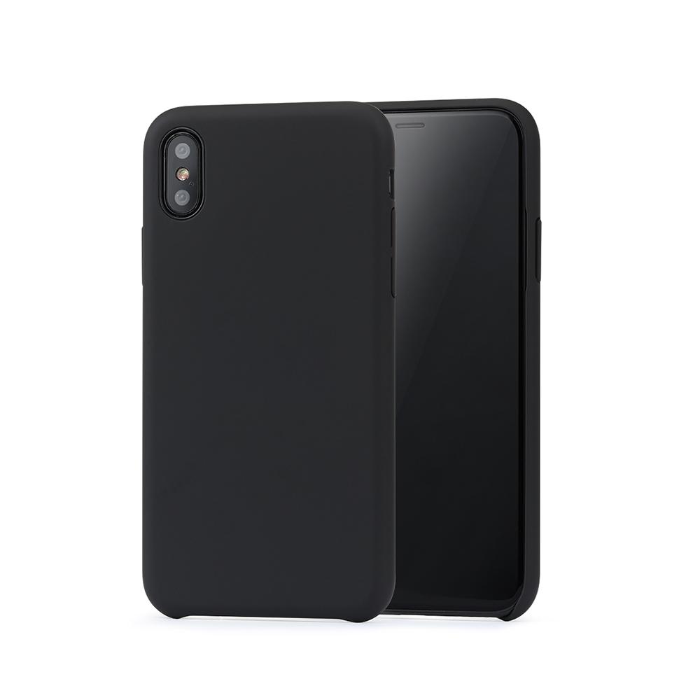 Carcasa iPhone X / XS Meleovo Pure Gear II Black (culoare mata fina, interior piele intoarsa)