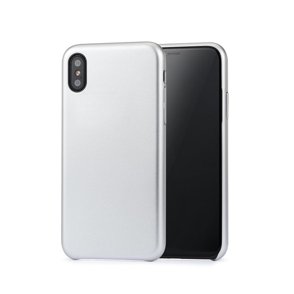 Carcasa iPhone X / XS Meleovo Pure Gear II Silver (culoare metalizata fina, interior piele intoarsa)