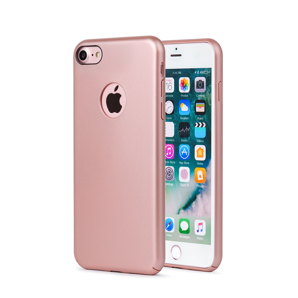 Carcasa iPhone 8 Meleovo 360 Shield Rose Gold (culoare metalizata fina, captuseala din microfibra)