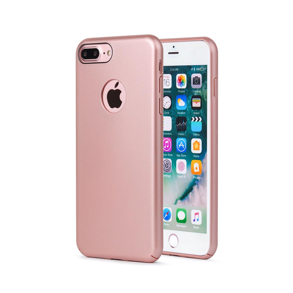 Carcasa iPhone 8 Plus Meleovo 360 Shield Rose Gold (culoare metalizata fina, captuseala din microfib