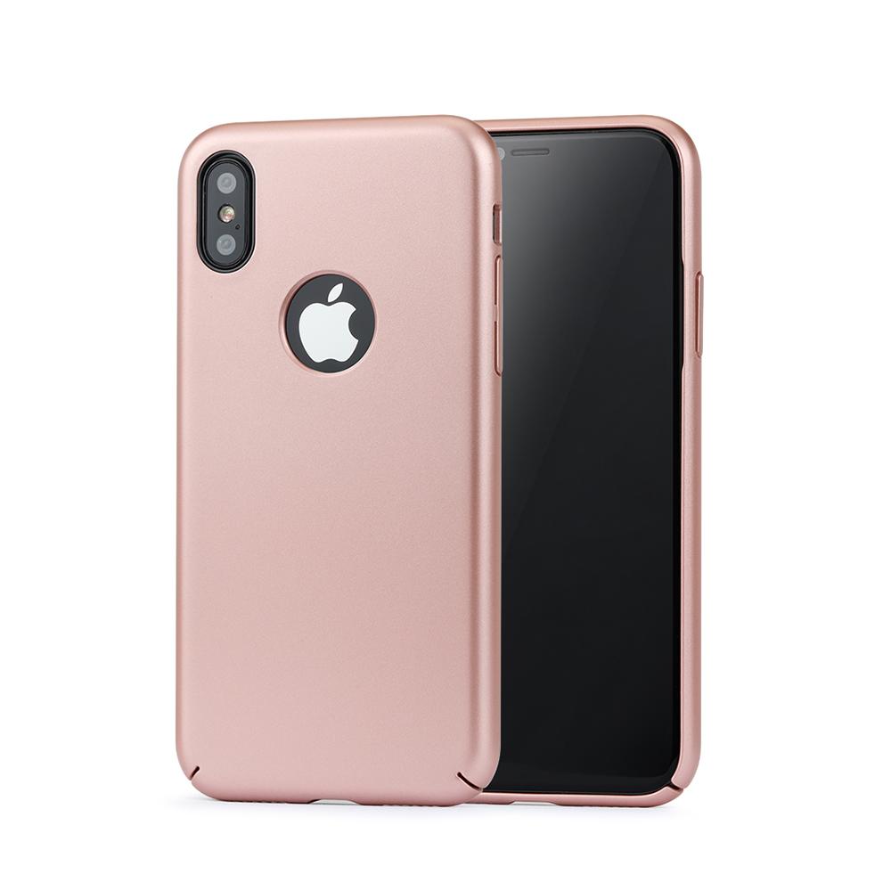Carcasa iPhone X Meleovo 360 Shield Rose Gold (culoare metalizata fina, captuseala din microfib