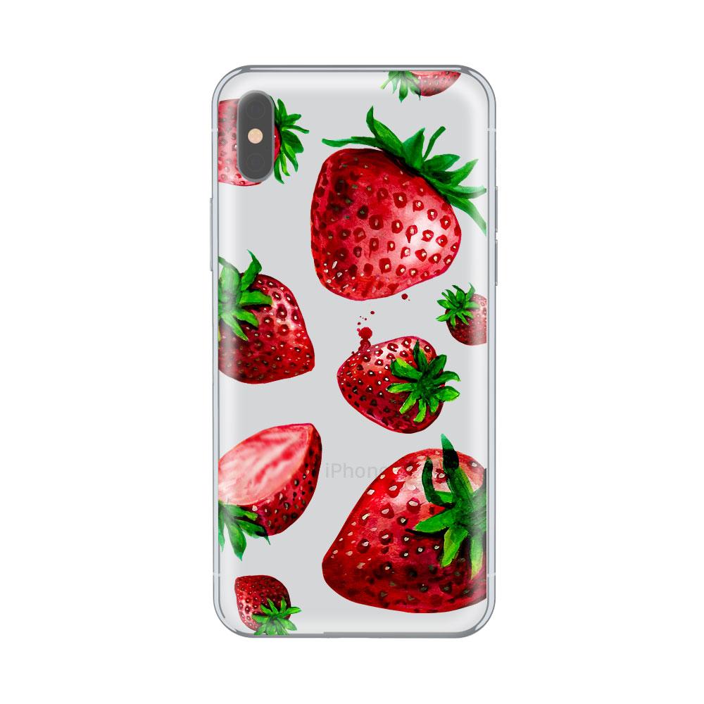 Husa iPhone X Lemontti Silicon Art Strawberries