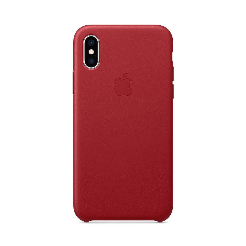 Carcasa iPhone XS Apple Leather Red (piele naturala)