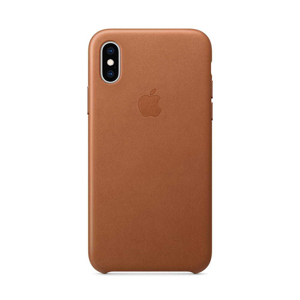 Carcasa iPhone XS Apple Leather Saddle Brown (piele naturala)