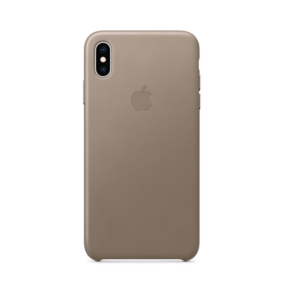 Carcasa iPhone XS Max Apple Leather Taupe (piele naturala)