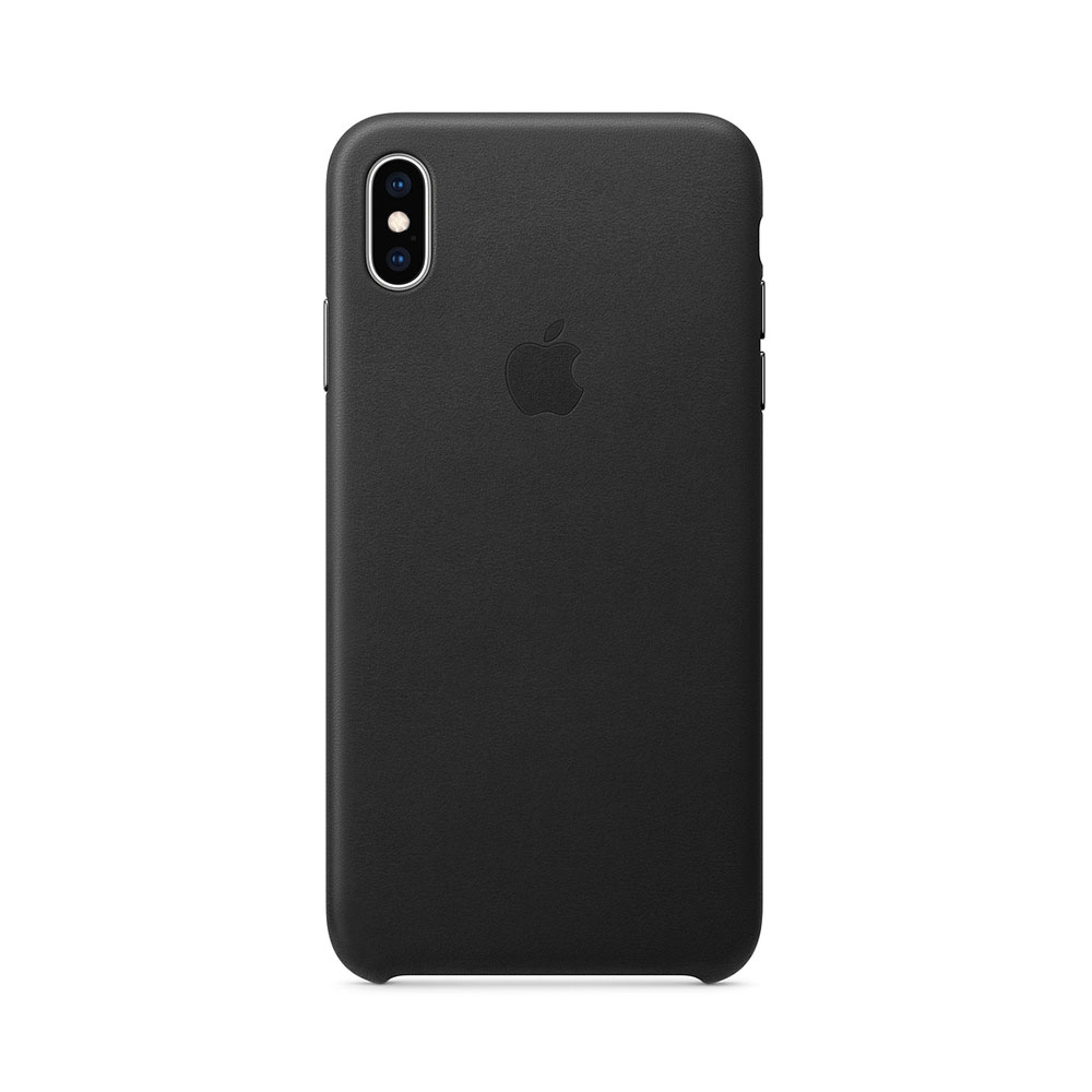 Carcasa iPhone XS Max Apple Leather Black (piele naturala)
