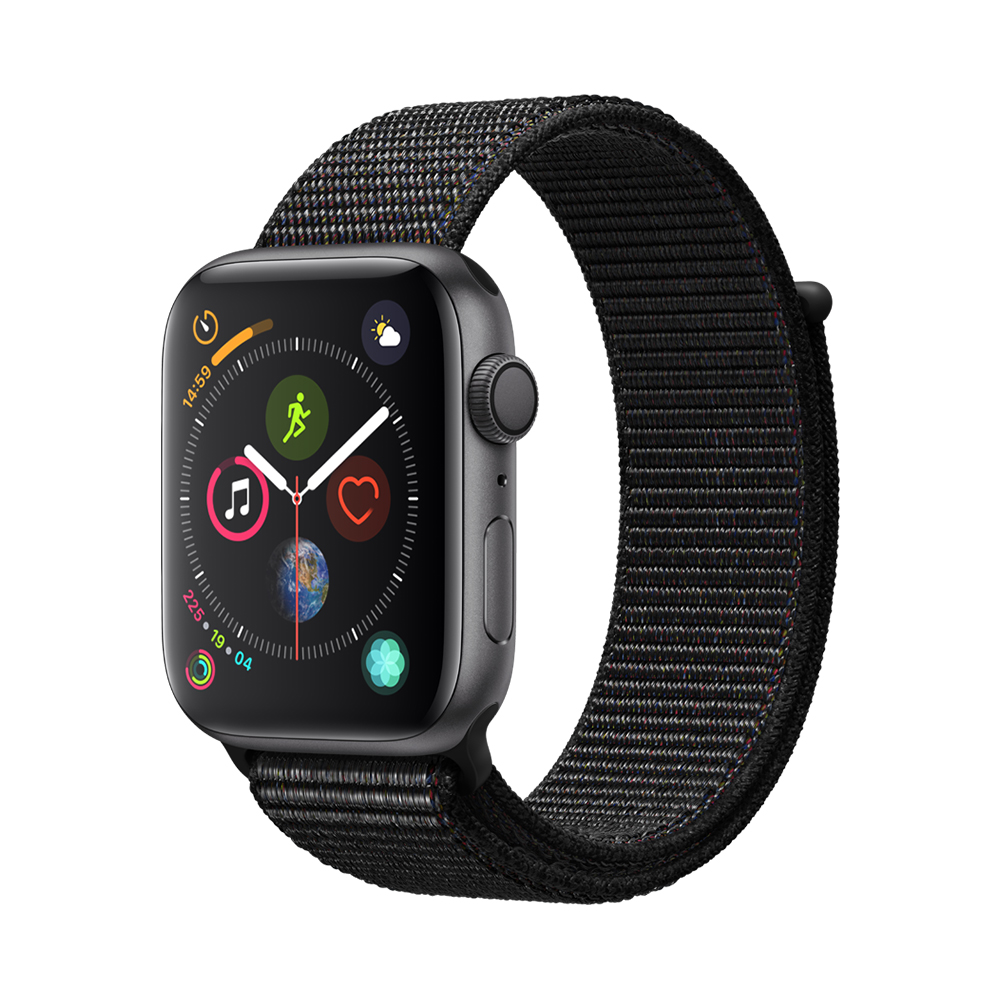 Apple Watch 4 GPS Space Gray Aluminium Case 44mm cu Black Sport Loop
