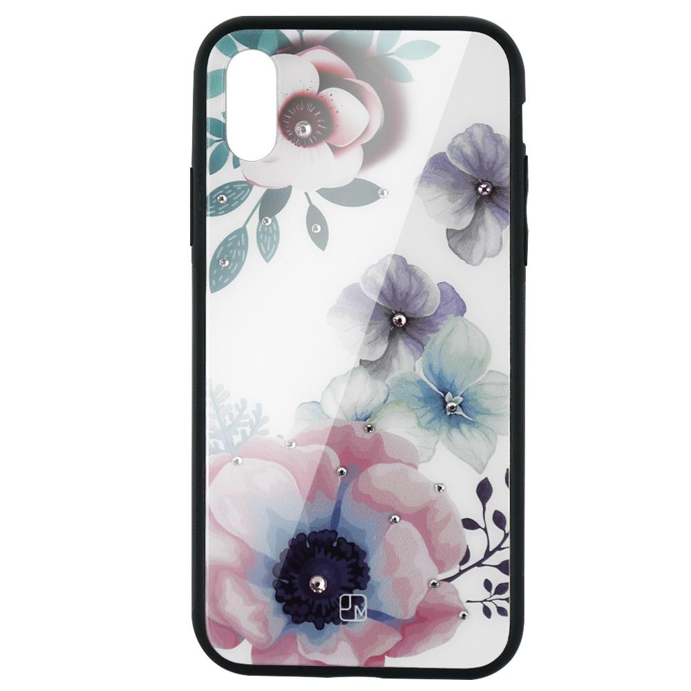 Carcasa Sticla iPhone XS Just Must Glass Diamond Print Flowers White Backgound