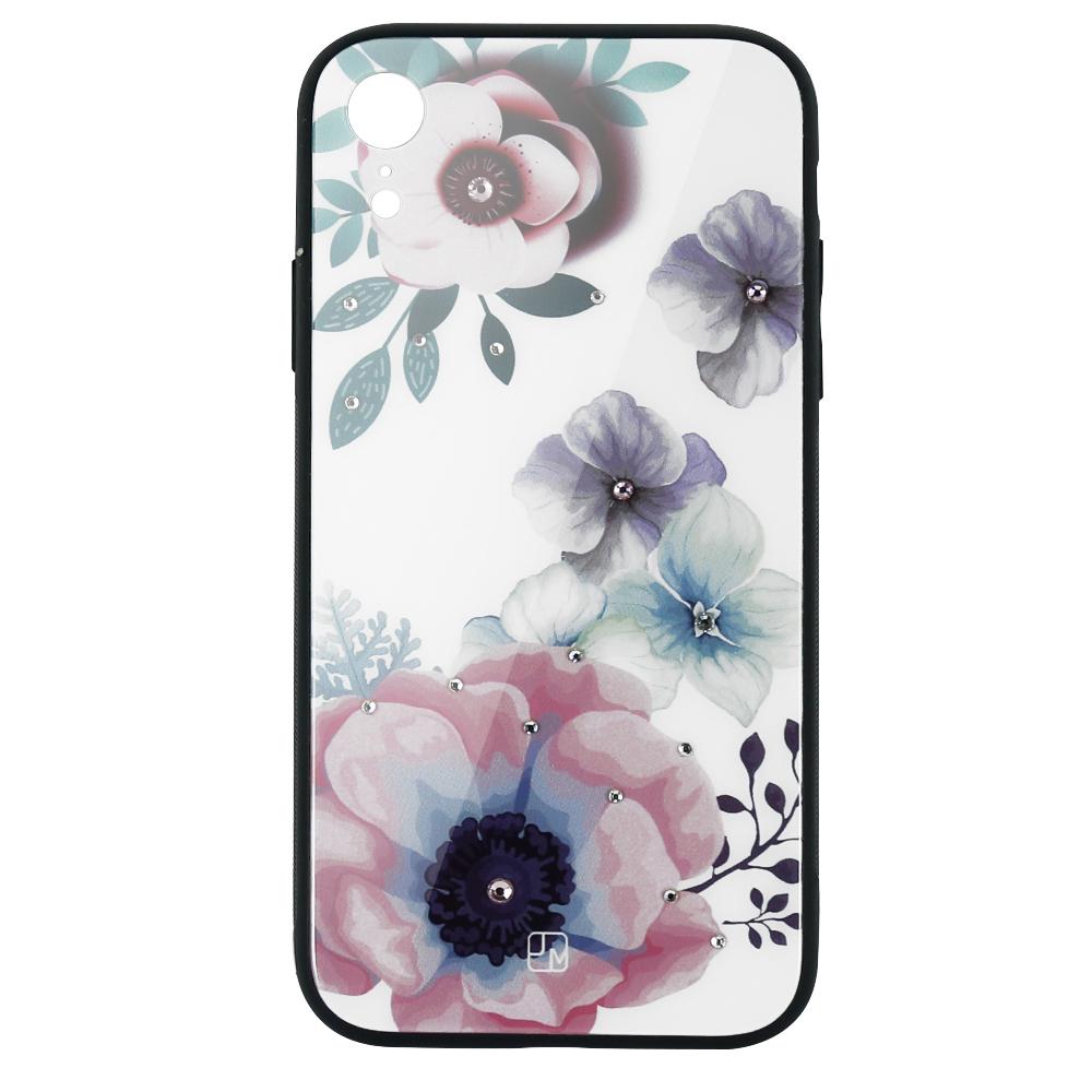 Carcasa Sticla iPhone XR Just Must Glass Diamond Print Flowers White Backgound