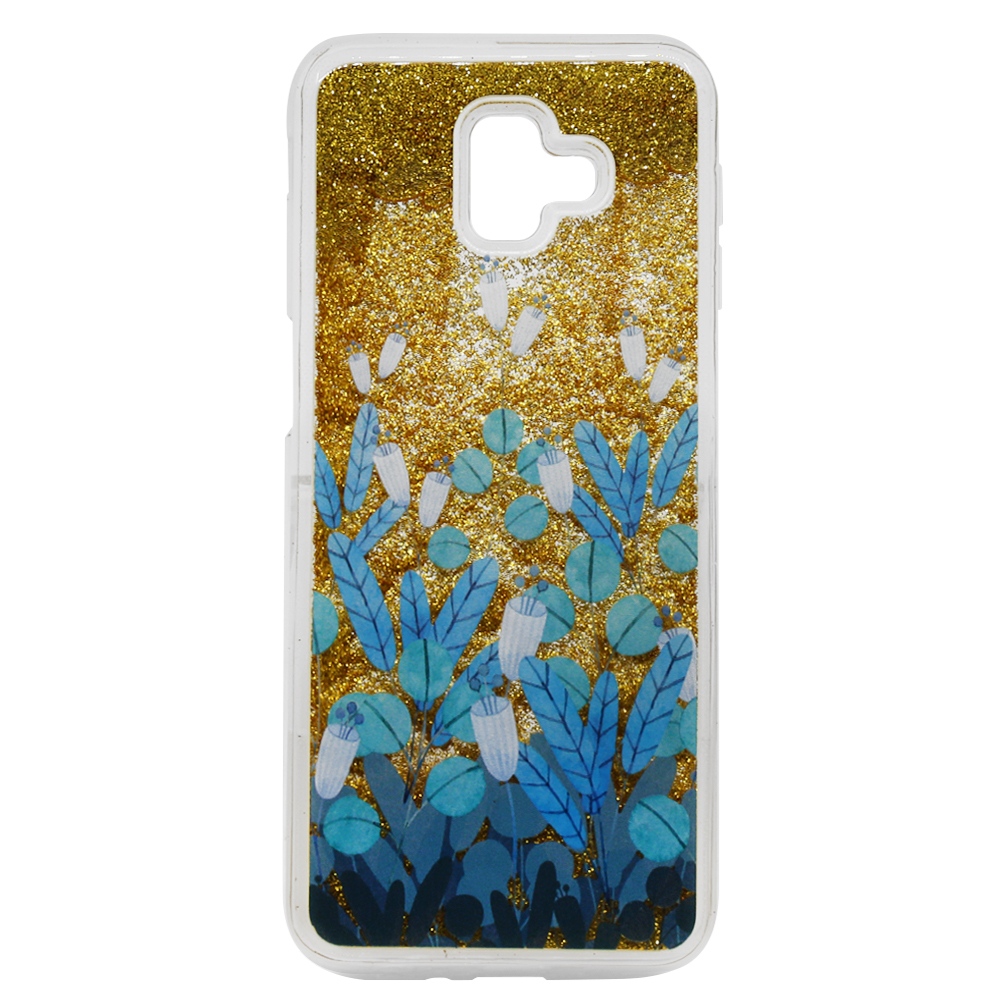 Carcasa Samsung Galaxy J6 Plus Lemontti Liquid Sand Blue Flowers